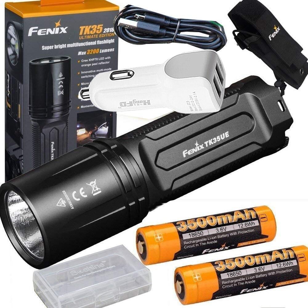 FENIX TK35 UE 2018 3200 Lumen LED USB rechargeable Tactique lampe de Poche + 2X3500 mah batterie, étui, chargeur de voiture, batterie cas