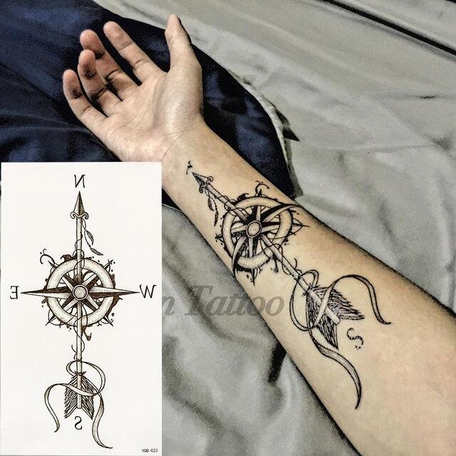 1 Sztuk Kompas Strzały Hot Czarny Biały Duży Kwiat Henna Tymczasowe