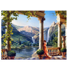 Real free Shipping Diy 3d Diamond Painting Square Full Hand Embroidery Cross Stitch Rome Castle Princess Mountain Waterfall(China)