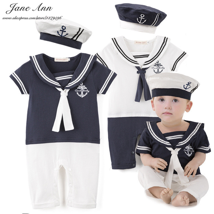 Baby boy cotton outfit sailor navy style hat and romper short sleeve 2 colors jumpsuit infant summer holiday birthday clothes newborn infant baby girl clothes strap lace floral romper jumpsuit outfit summer cotton backless one pieces outfit baby onesie