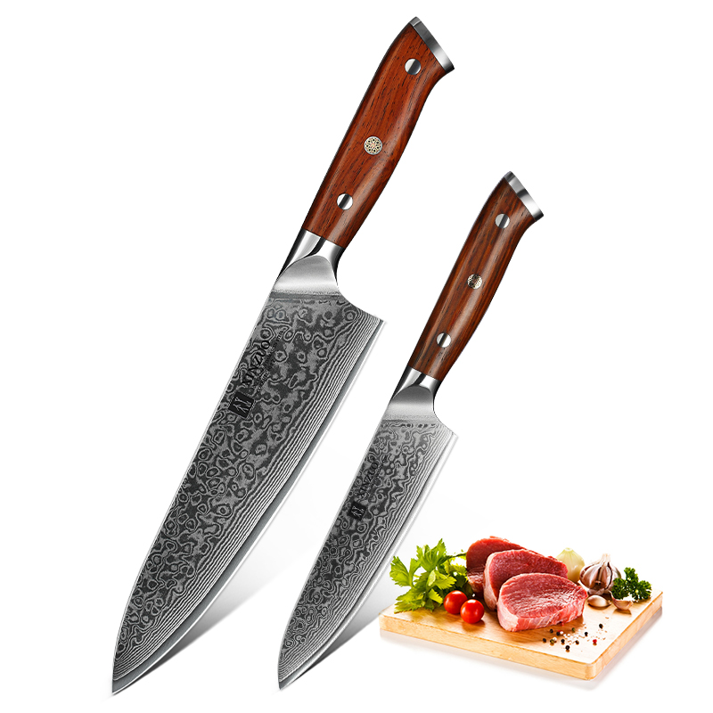 XINZUO 2 PCS Kitchen Chef Knife Set Damascus Steel Chef Cutter Utility Knives Stainless Steel Kitchen