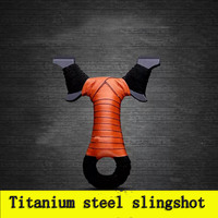 Stainless Titanium Steel Metal Slingshot Catapult Sling Shot Marble Outdoor Hunting Accessories With Powerful Rubber Band