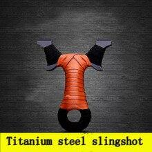 Stainless Titanium Baja Logam Slingshot Catapult Sling Shot Marble Luar Berburu Aksesoris dengan Karet Band Kuat