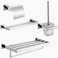 Free Shipping 304 Stainless Steel Towel Rack Glass Shelf Paper Holder Oilet Brush Holder Bath Hardware