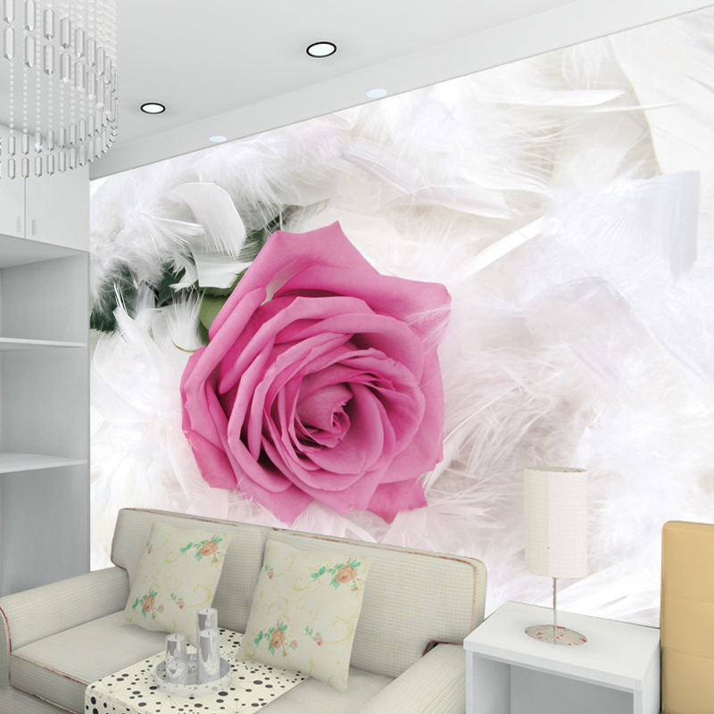 Romantic Pink Rose Flower Photo Mural Customized Size Non-woven 3D Wallpaper For Wedding Living Room Sofa Backdrop Wall Covering