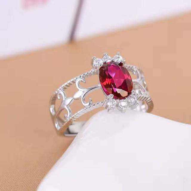 Royal silver gem ring for woman 6*8mm 1ct natural wine red garnet silver ring solid 925 sterling silver garnet ring gift for gir