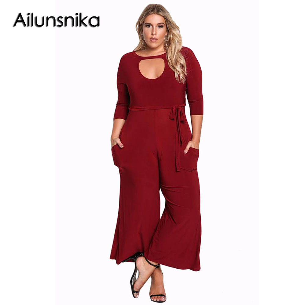 Ailunsnika The New listing Sexy Hollow Out O-Neck 2018 Autumn Women Plus Size Cut Wide Legged bodycon overal Jumpsuit DL64344