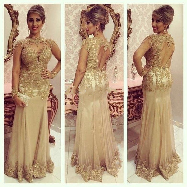 9f2805c68f9 Long Sleeve High Neck Backless Evening Dresses Sexy Gold Lace Appliques  Beads Mermaid Formal Prom Party Gowns 2015 Custom-in Evening Dresses from  Weddings ...