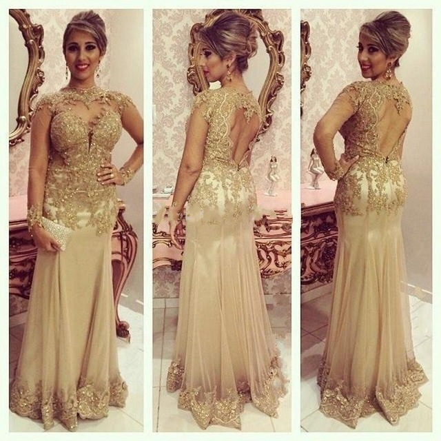 Long Sleeve High Neck Backless Evening Dresses Y Gold Lace Liques Beads Mermaid Formal Prom Party