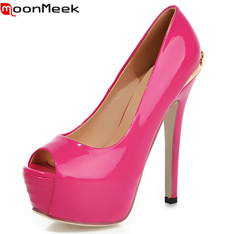 ФОТО 2016 new arrival women pumps high quality high heels shoes women sexy hot sale lady shoes round toe thin heels platform pumps