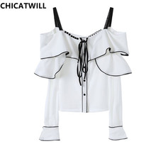 CHICATWILL Summer Designer French style office lady white ruffles Blouses women elegant OL Tops bowtie Blusas