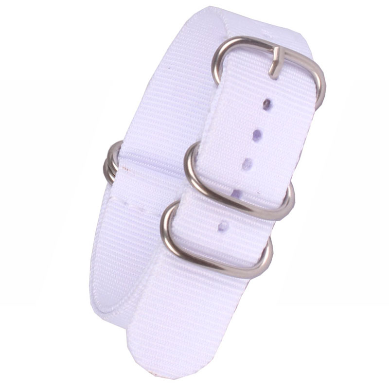 Buy 2 get 20% off) 18mm 20 mm Solid White Army Zulu fabric Nylon watchband Watch Strap 5 Rings Bands Buckle belt