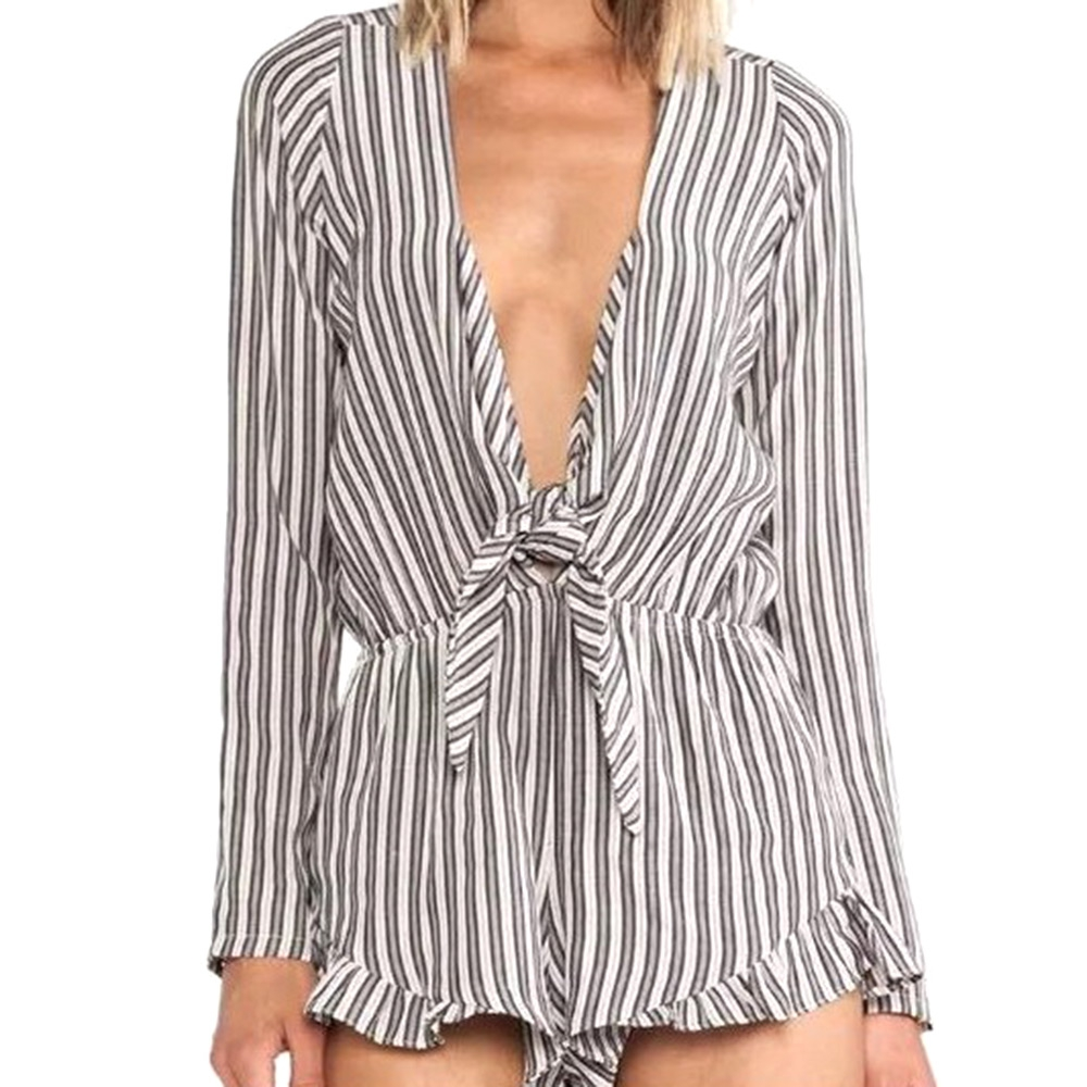 Sexy Black and White Striped Jumpsuit Romper Women V neck Long Sleeve Overalls 2017 New Belt Beach Playsuit