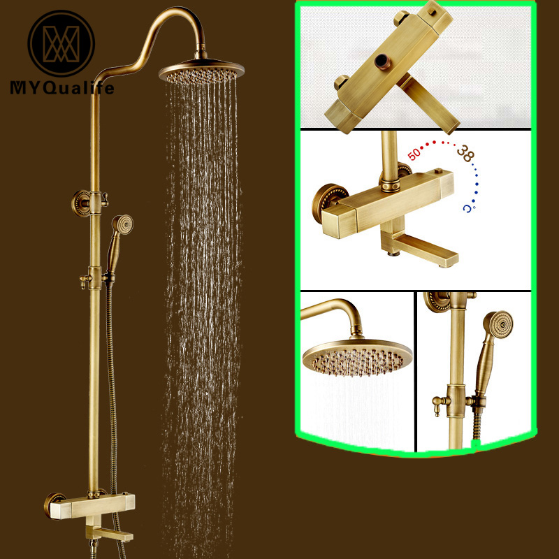 Luxury Rainfall Shower Head Thermostatic Shower Faucet Set Dual Handle Brass Antique Bath Shower Mixer Taps