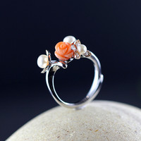 The Character Of Silver S925 Silver Jewelry Fashion Boutique Seiko Lady Pearl Ring Original Design
