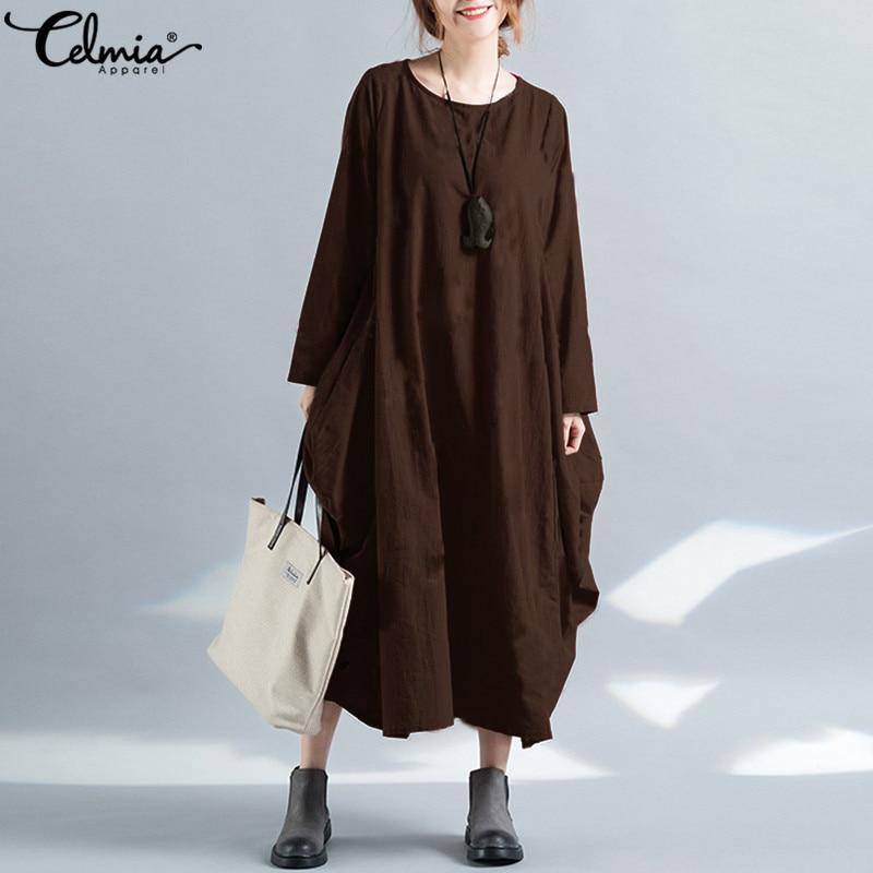 2018 Celmia Women Vintage Linen Dress Autumn Long Sleeve Maxi Long Shirt Dress Casual Party Kaftan Solid Baggy Vestido Plus Size