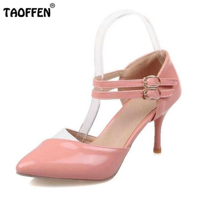 Tamanho 30-48 Correias do Tornozelo Sandálias de Salto Alto Verão Sapatos Sexy Ladies Dedo Apontado Couro de Patente Sapatos de Casamento Festa PA00601