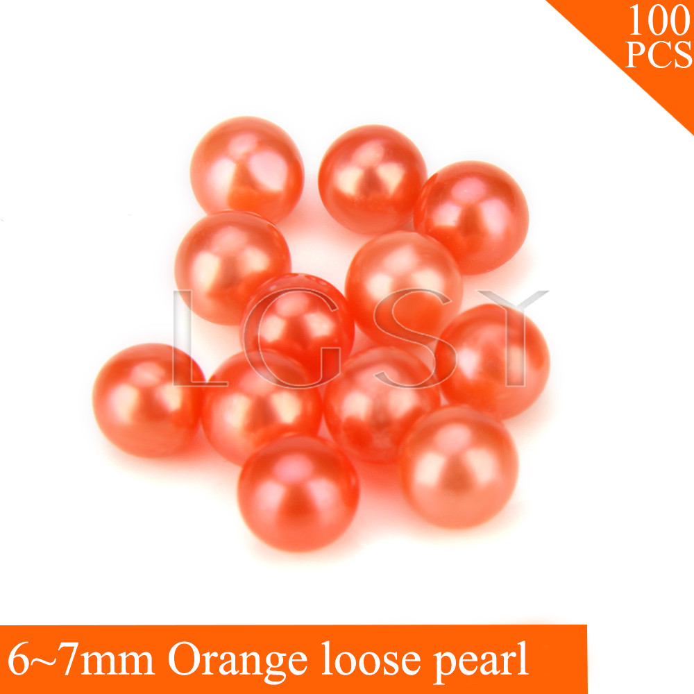 FREE SHIPPING, Halloween 6-7mm AAA Orange saltwater round akoya loose pearls 100pcs for fitting Jewelries endearing round neck 3 4 sleeve printed loose fitting sweatshirt for women