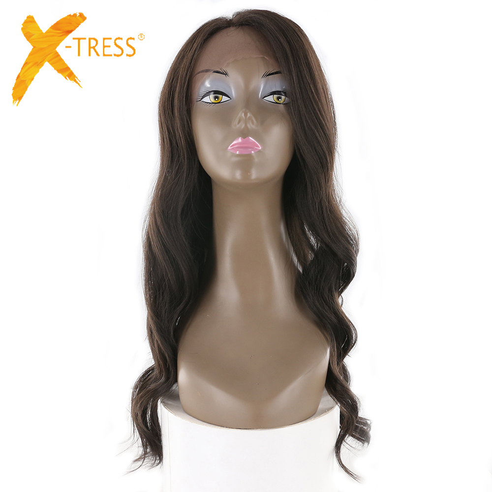X-TRESS Synthetic Lace Front Wigs With Baby Hair High Temperature Fiber Long Natural Wave Hairpiece Free Part Perruque For Women