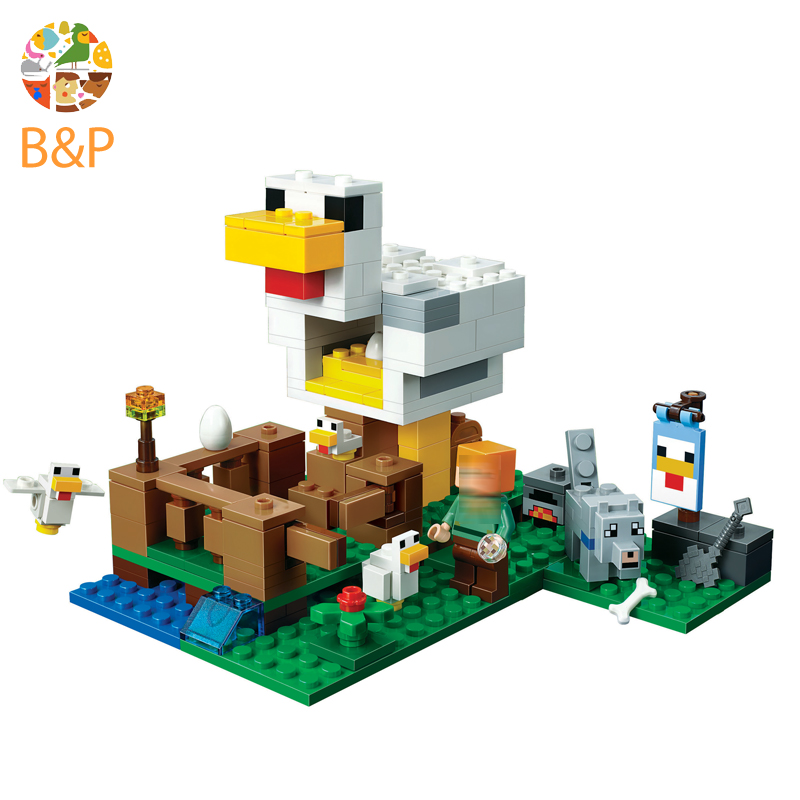 legoing 21140 204pcs My worlds Series The Chicken house Model Building Block Brick Set Toys For Children Miniecraft 10809 Gift