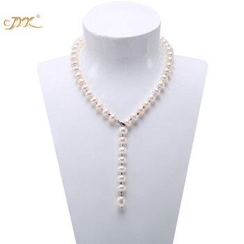 JYX Lange Perle Halskette Weiß Süßwasser-zuchtperlen Party Hochzeit Mutter Jewery 20,5 zoll Einstellbare Länge (9-10mm)