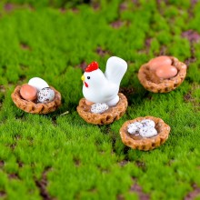 1Pcs Cock and Nestle Home and Eggs DIY Resin Fairy Garden Craft Decoration Miniature Micro Gnome Terrarium Gift F1025(China)