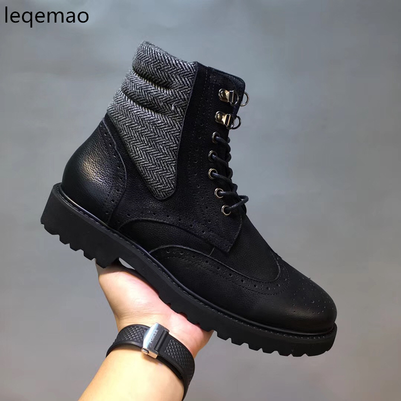 2018 Fashion New Men Ankle Martin boots Basic High Quality Real Genuine Leather Spring Autumn Luxury Brand Man Black Shoes 38-44 new arrival patent pu leather men fashion shoes spring autumn summer ankle boots shoes men high top men boots flats shoes