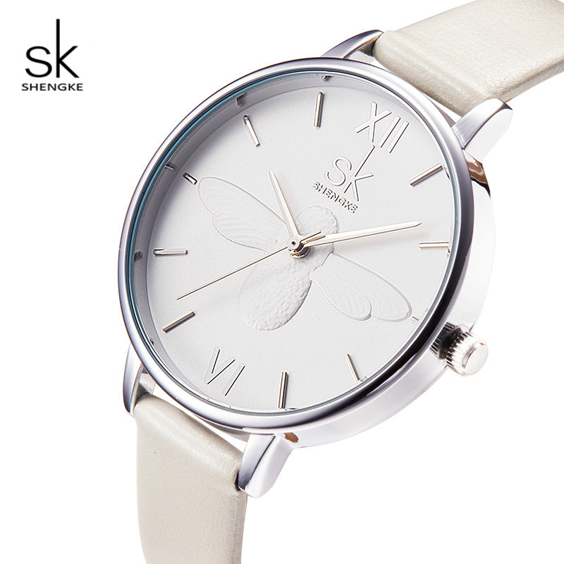 Shengke Bee Dial Watches Women Creative Quartz Watch Ladies Fashion Leather Wristwatch Relogio Reminino 2018 SK Clock #K0055 miler vintage fashion watch women retro leather strap world map casual quartz wristwatch ladies creative clock relogio feminino