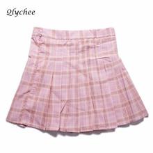 Qlychee Harajuku Skirts Women High Waist Pleated Short Skirts Women Clothing Preppy Style Fashion Casual Plaid