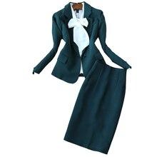 Женские комплекты, офисная униформа, костюм с юбкой, Осенний блейзер с длинным рукавом, куртка+ юбка, 2 предмета, Женские рабочие костюмы с юбкой