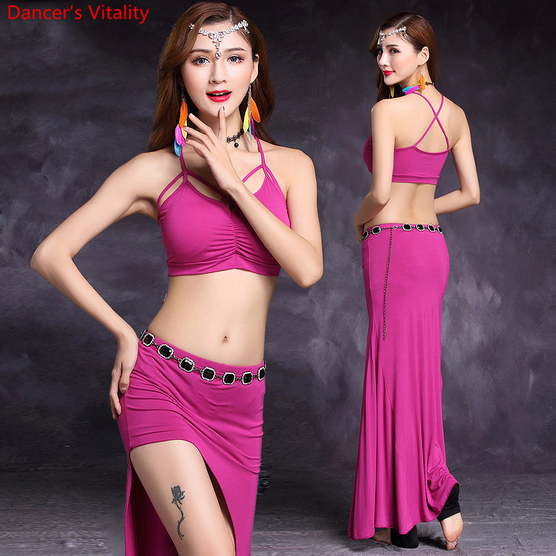 Hot Selling Women Belly Dance set 2 Pcs (Tops + Skirt) New Modal Style Show Modal Indian ...