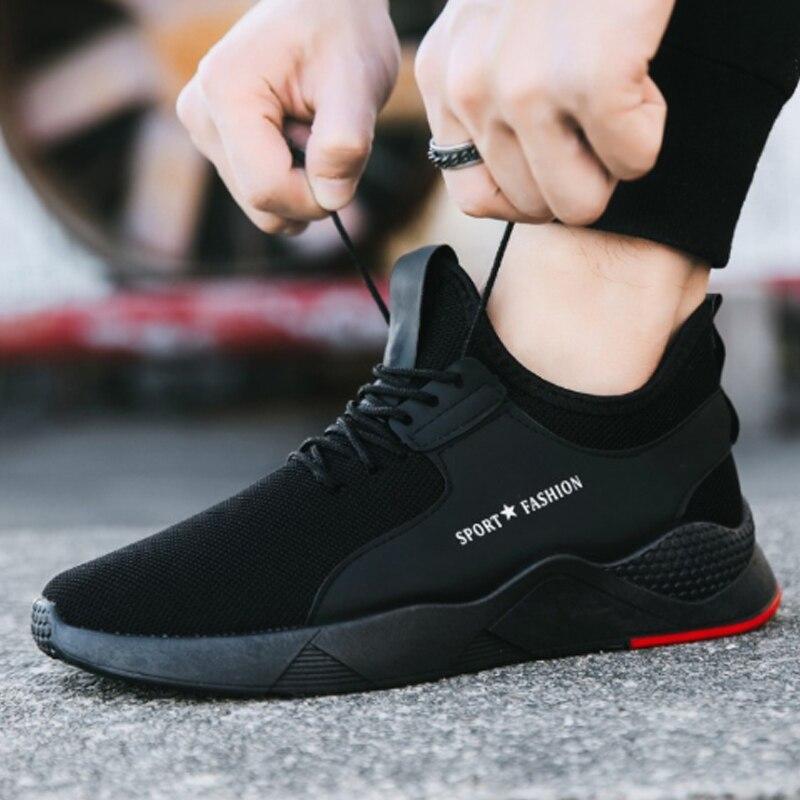 Oeak masculino vulcanize sapatos torridity preto novo respirável casual esportes tênis masculinos malha formadores-up sapatos planos mais 39-44