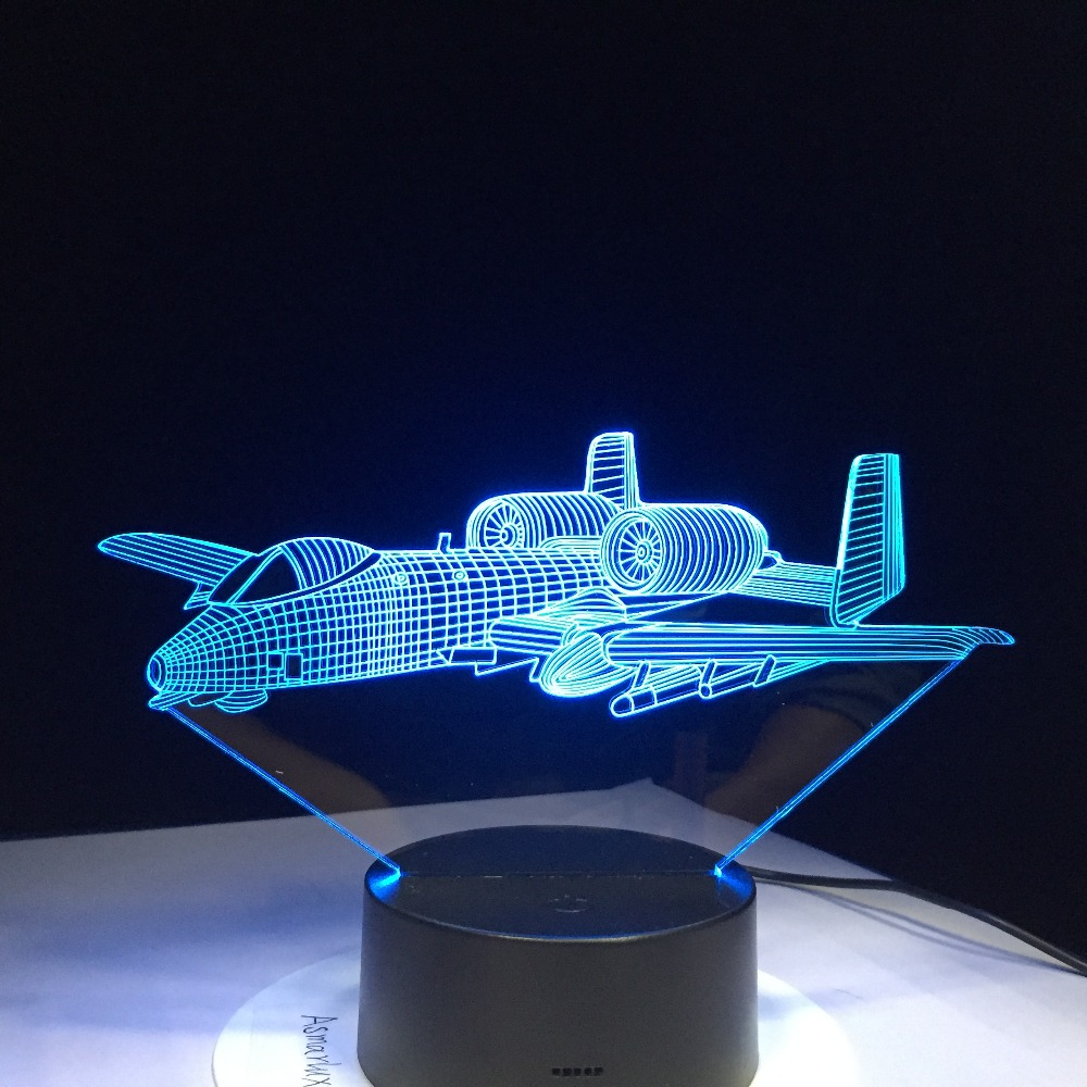 Air Plane Remote Control 3D Light LED Table Lamp Illusion Night Light 7 Colors Changing Mood Lamp 3AA Battery Powered USB Lamp 3d led light table lamp touch switch and remote control 7 colors changing walking cat sleeping light acrylic gifts festival kids