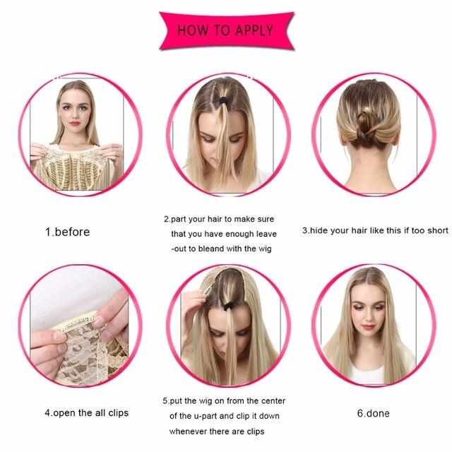 Clip sintético de extensión de cabello SARLA u-part, largo, grueso, rizado, Pestaña rubia Natural, postizos para el cabello para mujeres resistentes al calor