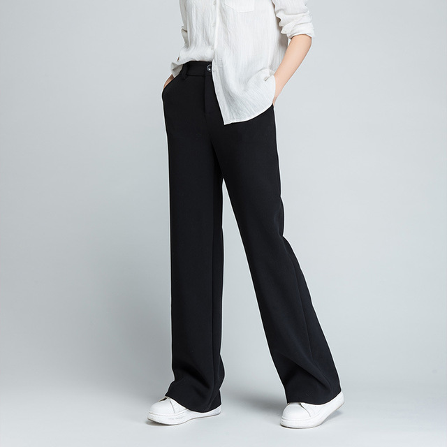 Kesebi 2017 Spring Autumn New Hot Fashion Women Solid Color Full Length Straight Pants Female Casual Wide Leg Pants Trousers
