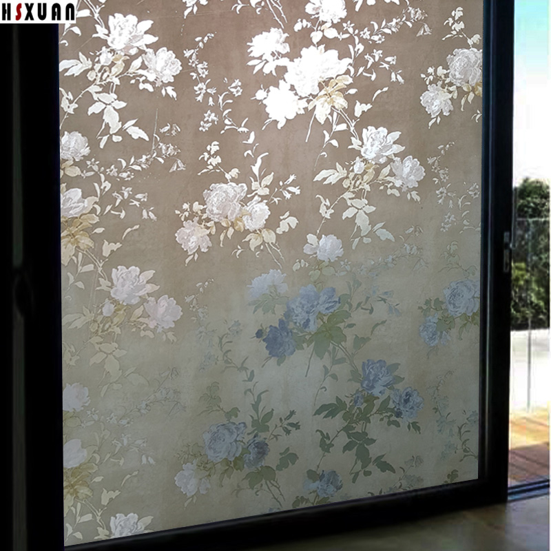 Living room large glass window film sunscreen 92x100cm peony flower decor window removable stained glass static stickers 922301 ...