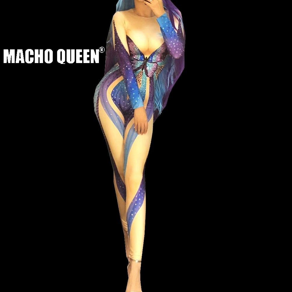 Onafhankelijk Drag Queen Kostuums Full Body Parel Strass Vlinder Burning Man Bodysuit Jumpsuit Rood Tapijt Prestaties Party Celebrity Zacht En Antislippery