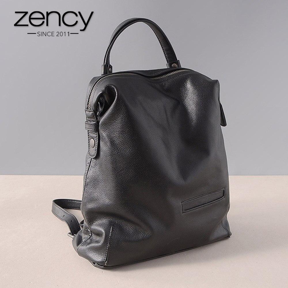 Zency 100% Genuine Leather Vintage Women Backpack Waterproof Anti-theft Travel Bags Laptop Schoolbags For Girls mochila feminina