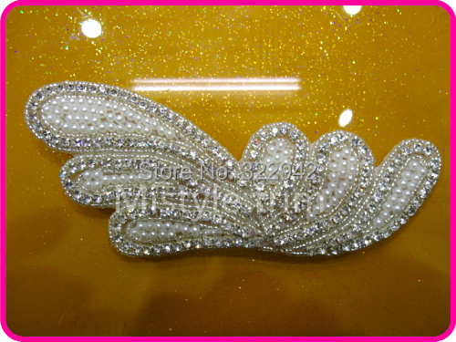 Free shipping bridal pearl and crystal rhinestone beaded appliques