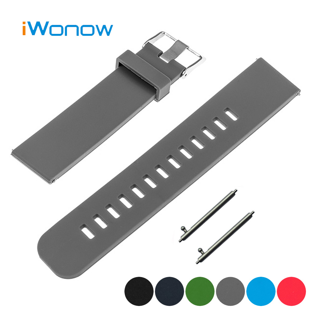 Silicone Rubber Watchband 18mm for Huawei Watch Quick Release Band Strap Wrist Belt Bracelet Black Blue Green Gray Red