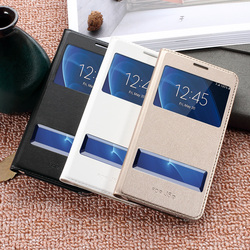 DULCII Phone Case for Samsung Galaxy J5 (2016) J7 2016 Cases Dual View Window PU Leather Flip Cover for Galaxy J5 2016 Capa