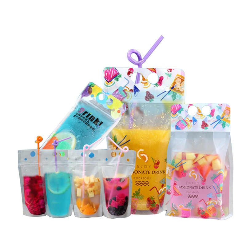 Hoomall 500ML Juice Bags Storage Durable Self Sealing Beverage Pouch With Handle Holes For Straw 10pcs Plastic Drink Package Bag