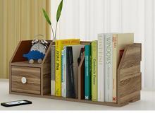 55*24*20CM Modern Desktop Bookshelf Office Storage Bookcase Student Desk Rack With Drawer