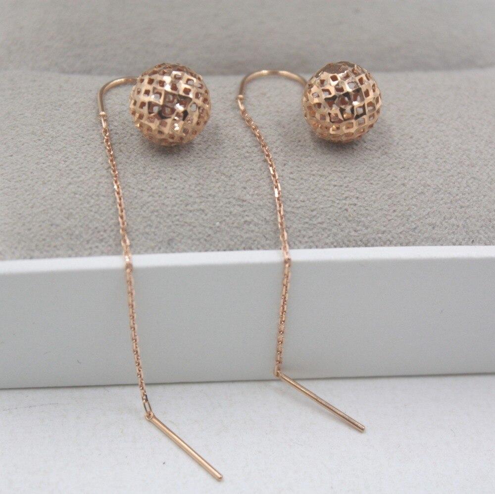 Boucles d'oreilles en or Rose 18 K pur cadeau de balle personnalisé boucles d'oreilles en forme de boule creuse mignon Drop 2-2.2g bijoux de tous les jours O maillon de chaîne