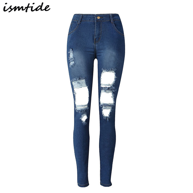 Boyfriend hole ripped jeans women pants hole Cool denim vintage pencil jeans for girl high waist casual pants female trousers casual vintage ripped denim jumpsuits suspender trousers high waist ladies winter long pants blue boyfriend jeans for women