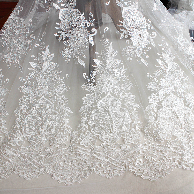 Sequins lace fabric ivory high quality new arrival bride for Wedding dress fabric stores