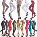 Sexy Women Shiny Metallic High Waist Black Stretchy Imitation Leather Leggings Pants XS S M L 100PCS