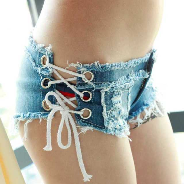 2016 Del Club Nocturno Sexy Girls Cortos de Mezclilla Cintura Baja Tanga Micro Mini Jeans Shorts Femme Mujeres Disco Dance Pantalones Cortos Caliente