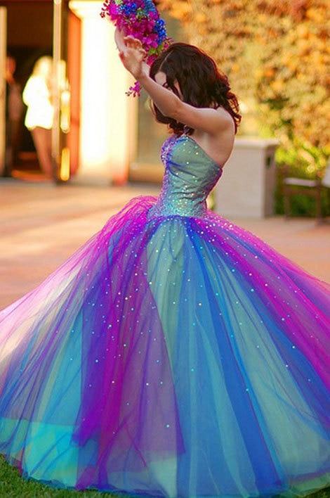 5fe93dbc54b8 Free Fast Shipping Sweetheart Ball Gown Rainbow Princess Bridal Gown Beaded  Unique Dreamy Rainbow Wedding Dress