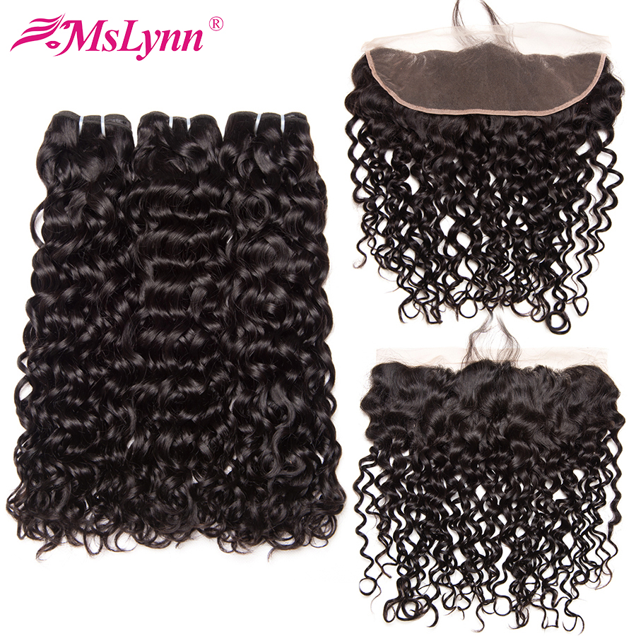 Mslynn Hair Lace Frontal Closure With Bundles Water Wave Bundles With Frontal Malaysian Human Hair Bundles